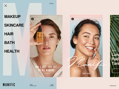 Manific Beauty Store design brand guidelines parfume soft packaging health makeup women cosmetics smm social media store beauty halo halo lab logotype logo identity brand identity branding