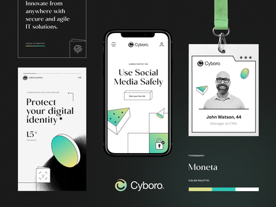 Cyboro Security Service branding design logo design security social banners marketing smm brand guidelines studio agency design halo packaging logotype logo identity brand identity branding halo lab