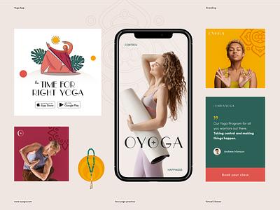 OYOGA Branding clean ads banner agency studio marketing smm brand guidelines health fitness yoga dribble dribbble packaging halo lab logo logotype identity brand identity branding