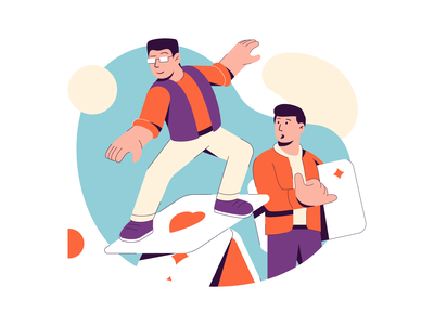 Productivity Fullhouse design drawings heroimage image sketch graphic art collaboration productivity poker surf people team colors vector illustration