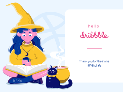 Hello, dribbble! illustration vector hello dribble cat witch woman girl