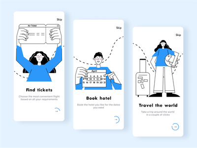Travel mobile app onboarding explorer hotel booking clean uxui online figma mobile app blue text travel onboarding ui onboard mobile design mobile ui character 2d illustrator digital vector illustration