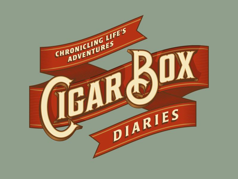 Cigar Box Diaries logo branding identity ribbon cigar travel adventure banner type typography rinker vector