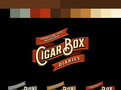 Cigar Box Diaries logo branding identity ribbon cigar travel adventure banner type typography rinker vector