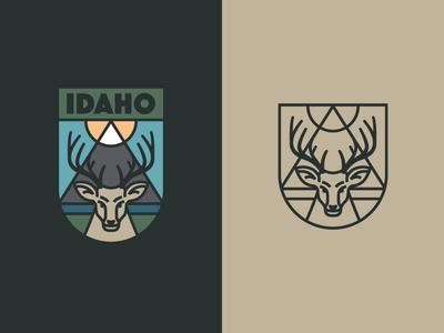 Idaho Badge deer idaho badge logo crest patch wilderness vector rinker outdoors design illustration
