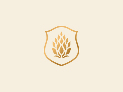 Fuego Brew Co. - Mark hops wheat flame crest badge seal brewery beer branding identity logo rinker