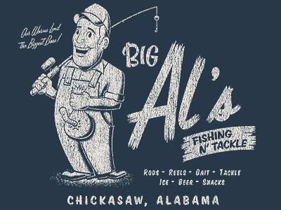 Big Al's tshirt fishing vector illustration