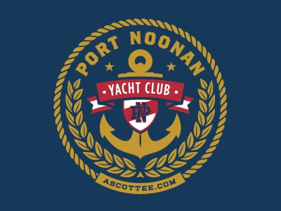 Port Noonan Yacht Club yacht boating crest vector logo design anchor rinker