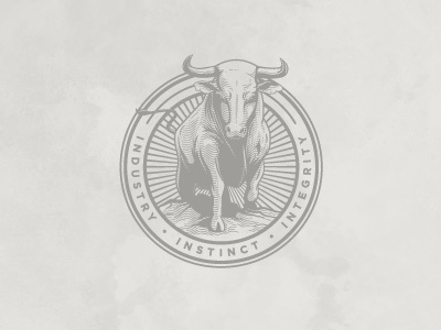 Ted Perez + Associates - Bull Seal logo branding bull seal badge
