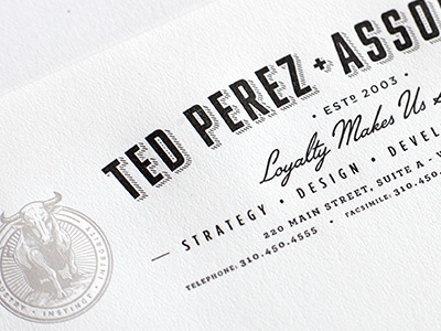 Ted Perez Branding - Letterhead Crop badge seal logo letterhead letterpress identity branding rinker