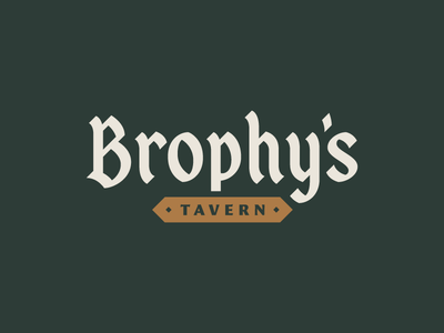 Brophy's Tavern - Logo blackletter custom typography lettering bar pub mark branding logo identity design rinker