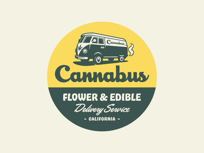 Cannabus Badge - Light badge cannabis marijuana bus weed van illustration branding logo identity design rinker