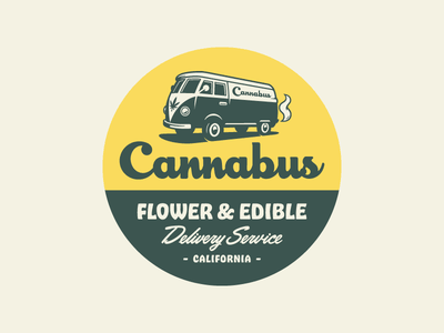 Cannabus Badge - Light badge cannabis marijuana bus weed van illustration branding logo identity design rinker