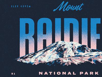 TYPE HIKE - Mount Rainier NP washington nature mountain print poster national park mount rainier typography illustration design rinker