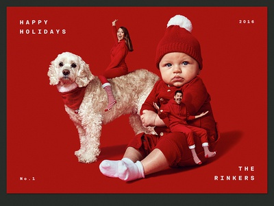 RINKER XMAS CARD santa dog red xmas card holiday christmas composite retouch photography design rinker