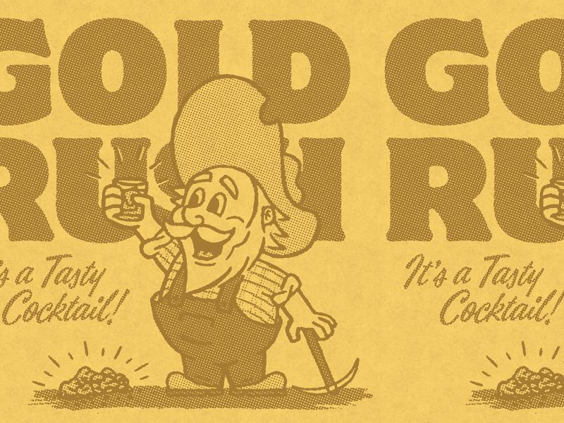 GOLD RUSH 49er vintage drink western miner typography cocktail gold illustration design rinker