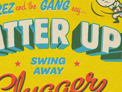Batter Up! rinker baseball type typography mascot character illustration design script stars retro vintage sports america usa offset
