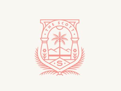 The Scott Resort Identity - 2 palm the scott crest arizona los angeles hotel illustration logo identity branding design rinker