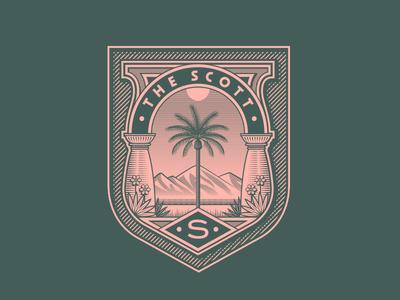 The Scott Resort Identity - 3 badge the scott crest arizona los angeles hotel illustration logo identity branding design rinker