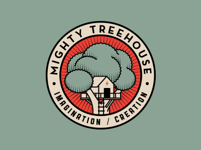 Mighty Treehouse Rejects logo branding type typography rinker crest design seal tree treehouse badge