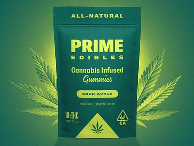 PRIME Edibles - Sour Apple identity design cannabis branding california logo cannabis packaging packaging gummies marijuana weed edibles cannabis package design identity branding design rinker