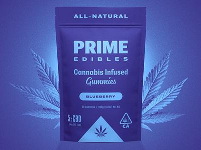 PRIME Edibles - Blueberry CBD cbd identity design rinker design branding identity package design cannabis edibles weed marijuana gummies packaging cannabis packaging logo california cannabis branding
