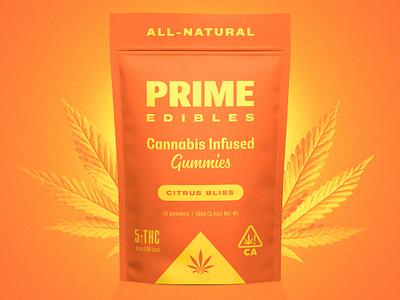 PRIME Edibles - Citrus Bliss rinker design branding identity package design cannabis edibles weed marijuana gummies packaging cannabis packaging logo california cannabis branding identity design