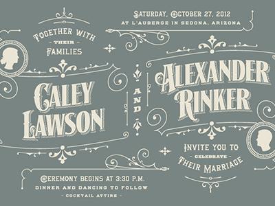 Wedding Invitation & RSVP wedding invitation rsvp type typography design rinker arizona