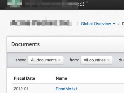 Document Filter UI filter application ui