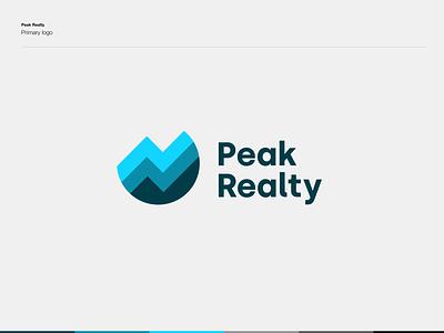 Peak Realty – 2020 Rebrand typography vector white poster clean simple blue modern logodesign logo brand design branding brand