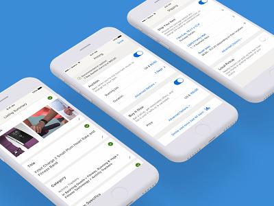 ebay app – Seller listing (2017) ebay android ios mobile design modern clean ux ui