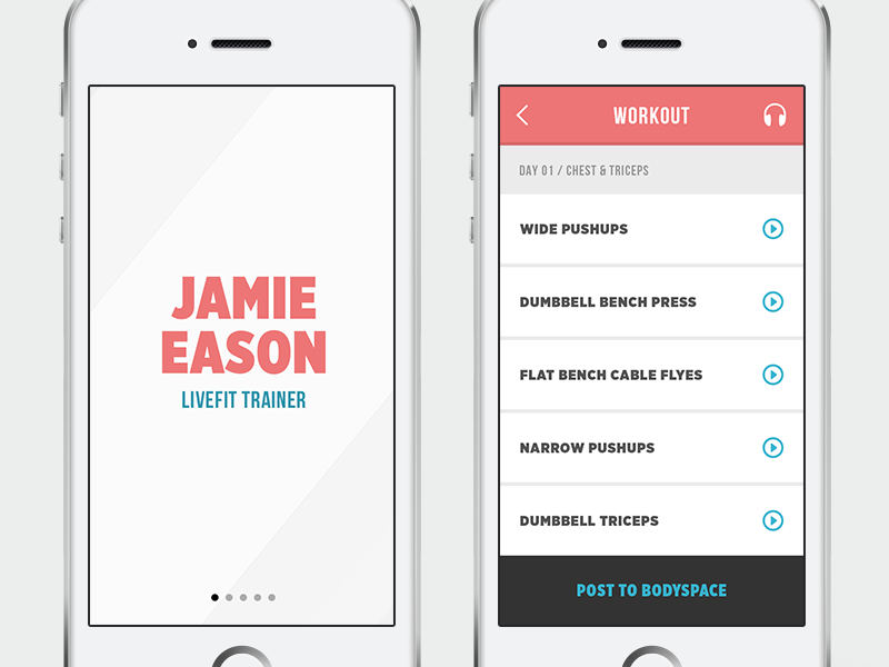 Fitness Tracker Concept workout tracker ui ux clean modern sleek white blue red mobile ios
