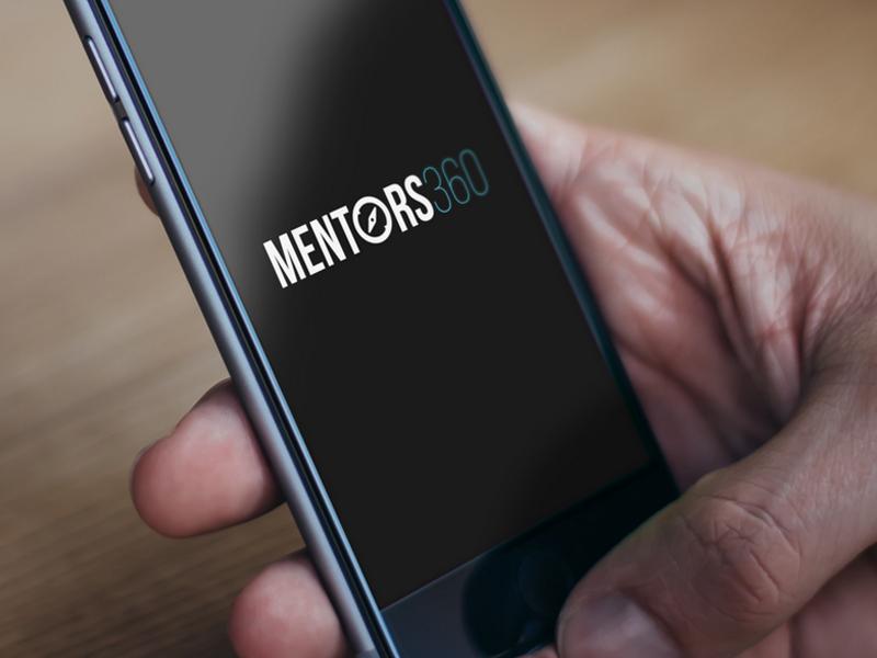 Mentors 360 logo identity clean non-profit black blue white