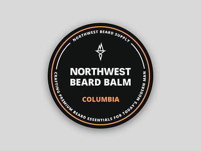 Northwest Beard Balm orange print ui icon bold design label badge beard illustration