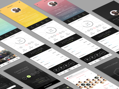Sphere App group profile stats dashboard modern ux design app design ui design clean ios