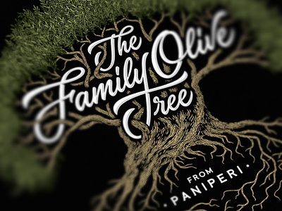 The Family Olive Tree family olive tree vintage drawing dalibass logo typography logotype custom hand-drawn lettering