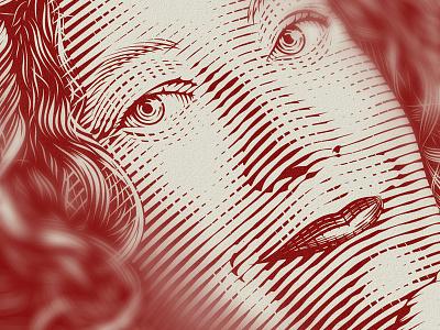 Barbara Gruszka-Zych engraving portrait book cover crosshatching etching vintage drawing illustration custom hand-drawn