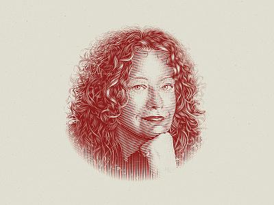Barbara Gruszka-Zych -- Full portrait portrait book cover crosshatching engraving etching vintage custom drawing illustration hand-drawn