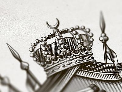 Crown coat of arms coatofarms spear crown arabic engraving crosshatching etching dalibass vintage illustration custom hand-drawn