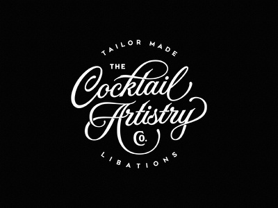 The Cocktail Artistry Co branding cocktail badge vintage dalibass typography logotype lettering custom hand-drawn