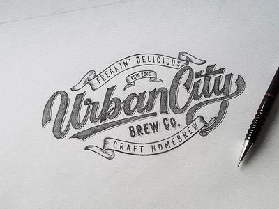 Urban City Brew Co Sketch hand-drawn dalibass sketch drawing custom logotype logo lettering