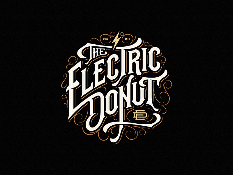 The Electric Donut hand-drawn juice electric donut vape monogram badge typography vintage logotype custom lettering