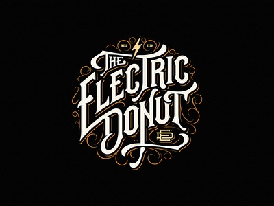 The Electric Donut hand-drawn juice electric donut vape monogram badge typography vintage logotype custom lettering