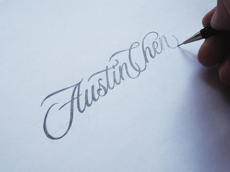 Austin Chen Process hand-drawn typography dalibass vintage logotype logo custom lettering