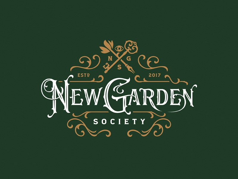 New Garden Society hand-drawn team typography vintage logotype logo custom lettering