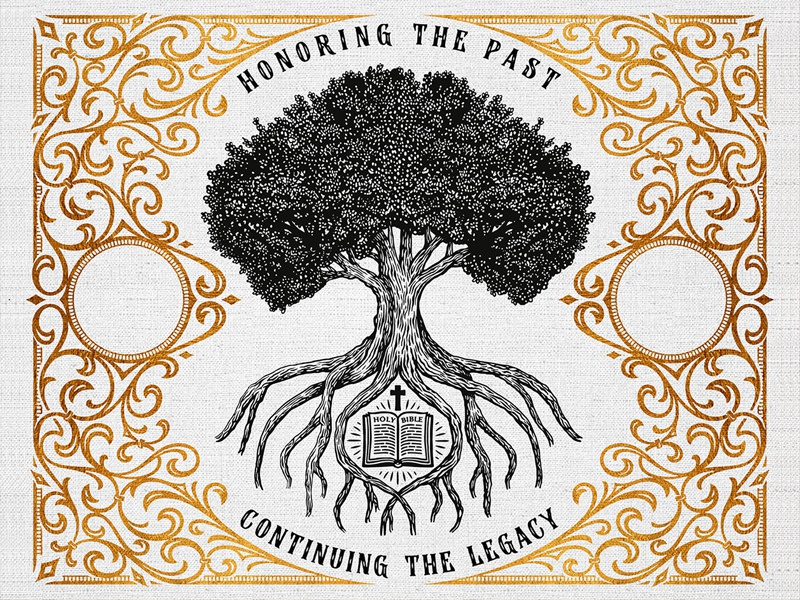 Honoring The Past - Continuing The Legacy - Full image hand-drawn team typography victorian vintage logotype ornament custom lettering