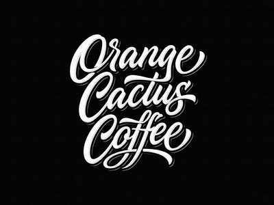 Orange Cactus Coffee cactus team ngs roastery coffee vintage sketch drawing dalibass logo typography logotype custom hand-drawn lettering