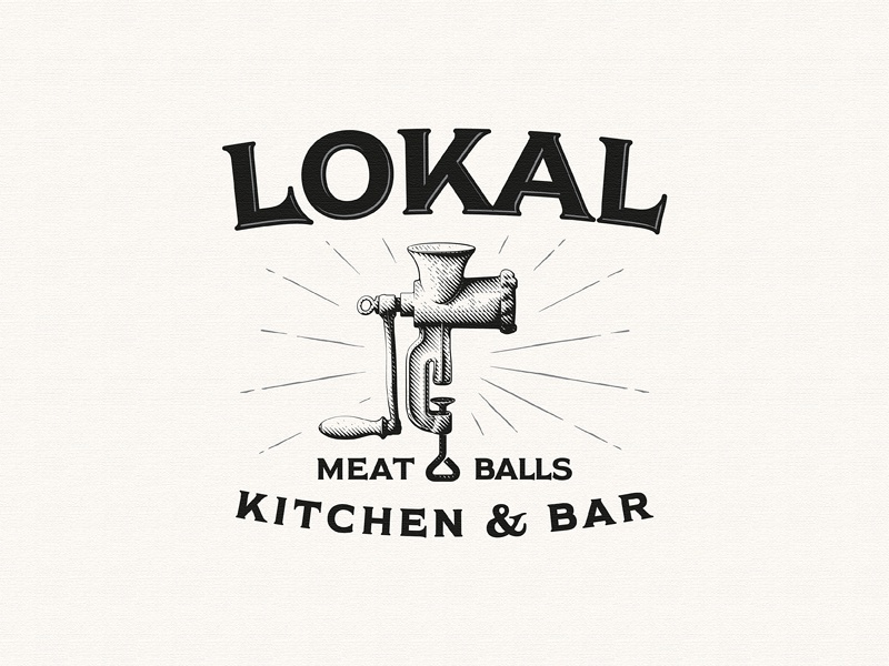 Lokal Meatballs bar meatballs meat grinder kitchen team vintage sketch drawing dalibass logo typography logotype custom hand-drawn lettering