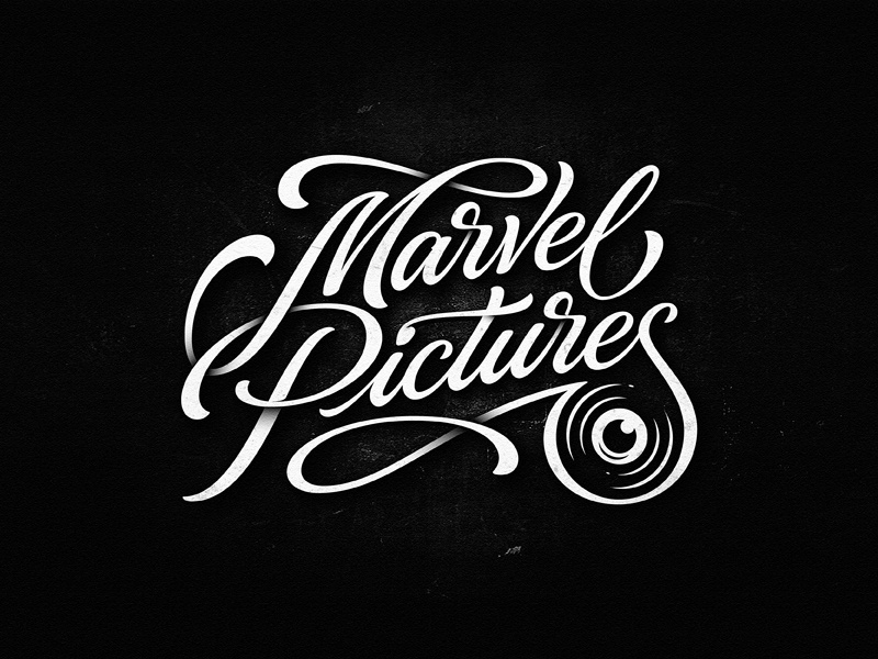 Marvel Pictures team vintage sketch drawing dalibass logo typography logotype custom hand-drawn lettering