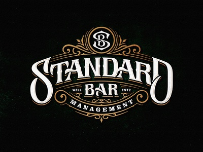 Standard Bar ngs monogram team vintage sketch drawing dalibass logo typography logotype custom hand-drawn lettering